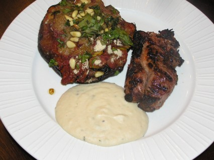 Herb Grilled Lamb Steaks with White Bean Goat Cheese Puree